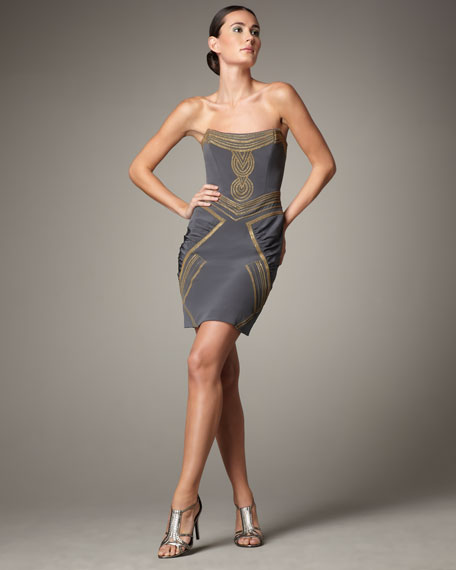 Beaded Strapless Silk Dress