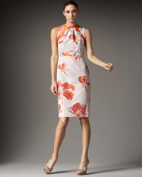 Floral-Print Taffeta Sheath Dress