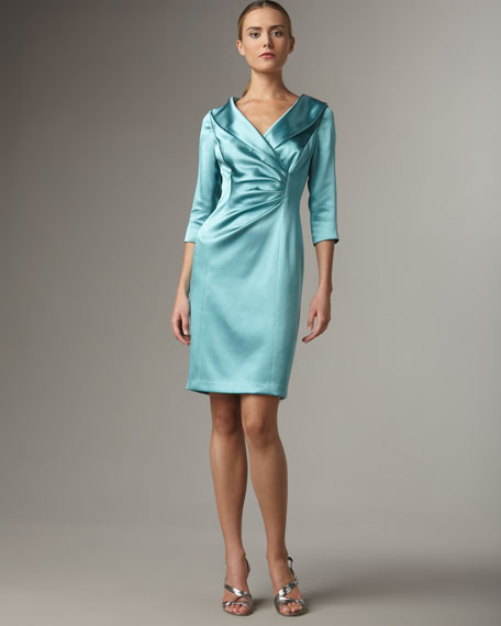 Shawl-Collar Satin Dress