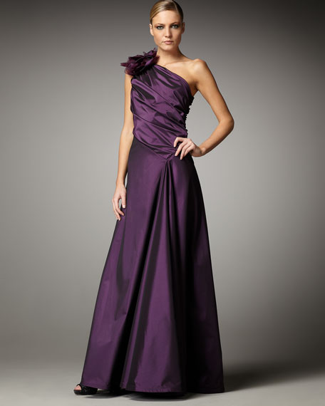 One-Shoulder Taffeta Gown