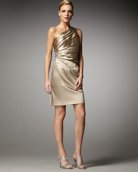 One-Shoulder Burst-Pleat Dress