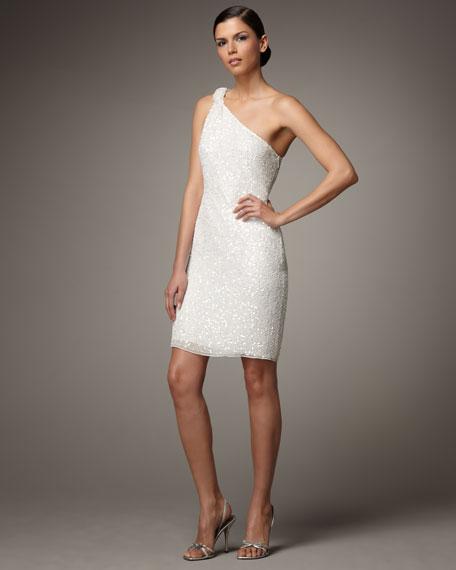 Aidan Mattox One-Shoulder Sequin Dress