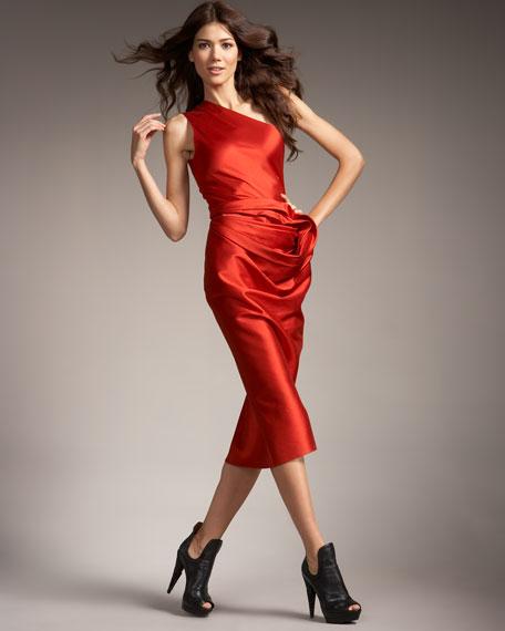 Wool-Silk One-Shoulder Dress