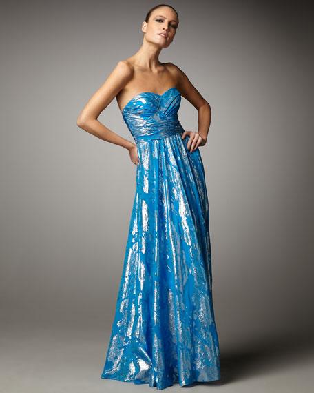 Metallic-Print Strapless Gown