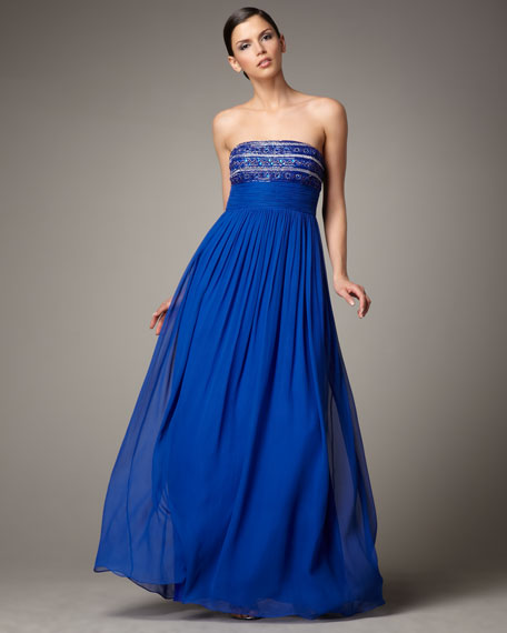 Strapless Beaded-Top Gown