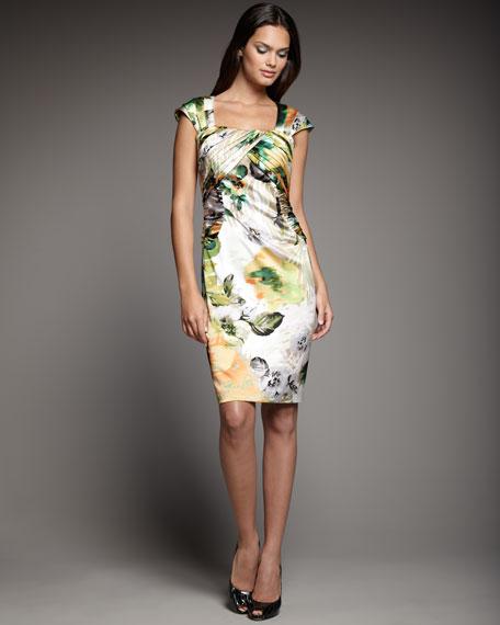 Pleated-Sleeve Print Dress