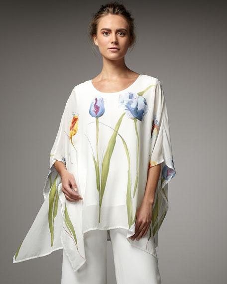 Tulip-Print Poncho