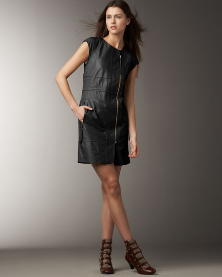Leather Front-Zip Dress