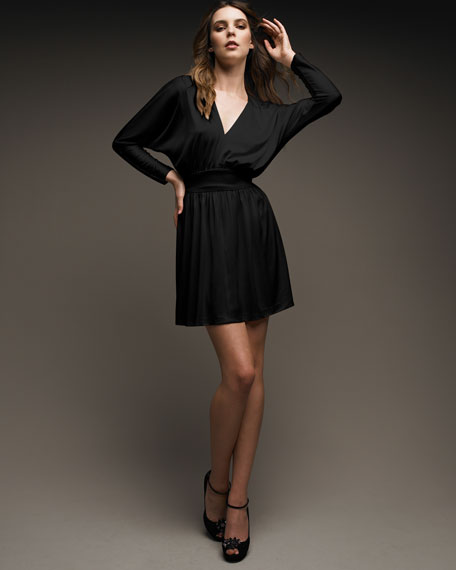 V-Neck Jersey Dress, Black