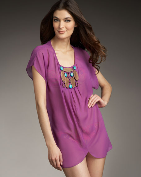 Beaded Chiffon Short-Sleeve Coverup