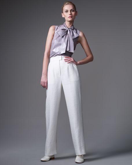 Silky-Tweed Tuxedo Pants, White