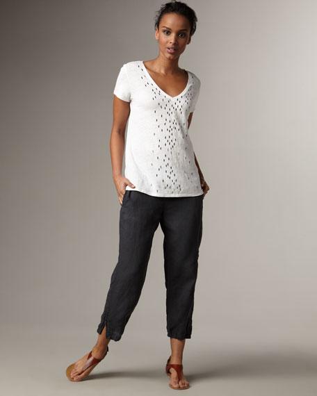 Cropped Organic-Linen Pants, Women's