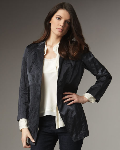 Long Steel Satin Jacket