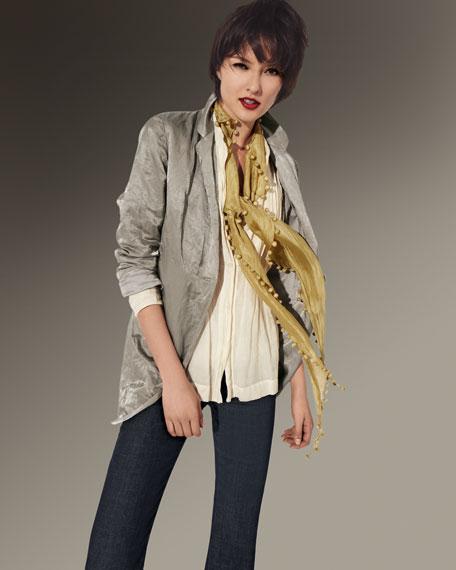 Long Steel Satin Jacket, Women's