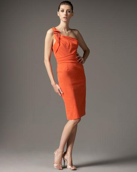One-Shoulder Ruffle-Detail Dress