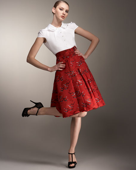 Bird-Print Jacquard Full Skirt