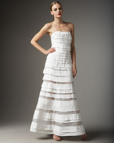 Strapless Tiered Gown, White