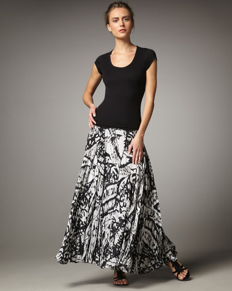 Indikka Knit-Waist Paisley Maxi Skirt