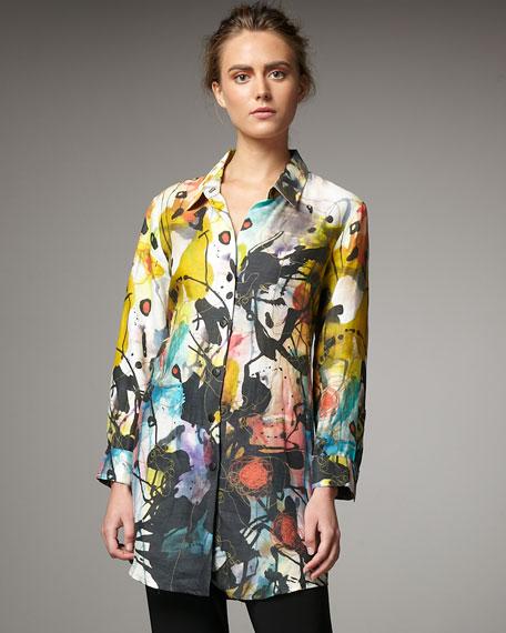 Splatter-Print Linen Shirt
