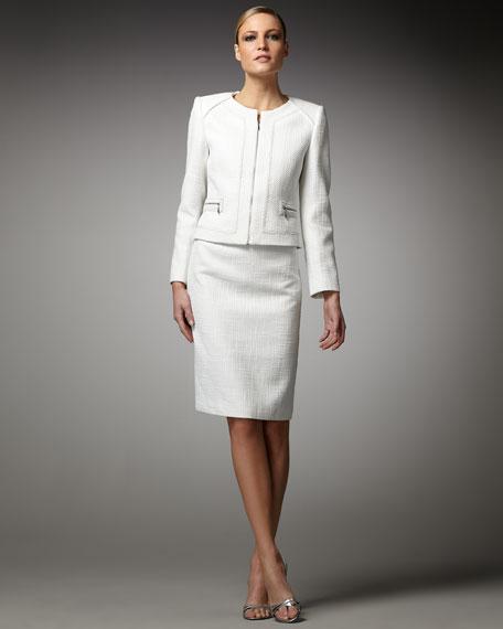 Front-Zip Tweed Suit