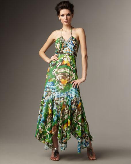 Beaded Neck Batik-Print Maxi Dress