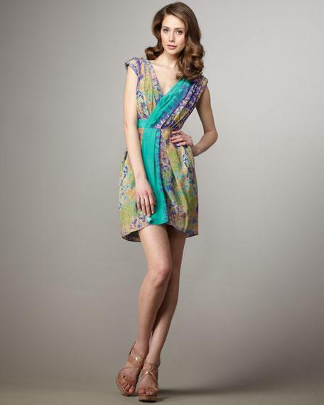 Printed Chiffon Wrap Dress