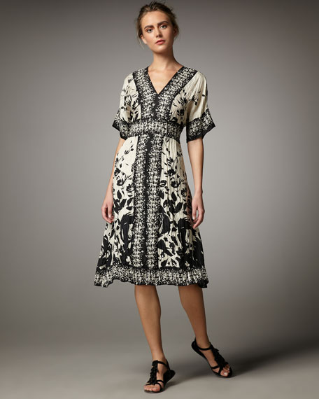 Lynn Ritchie Habutai Floral-Print Dress