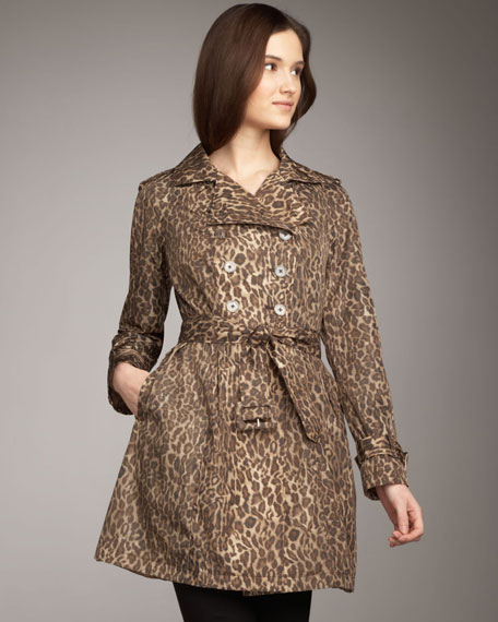 Jane Post Leopard-Print Skirty Trenchcoat
