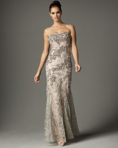 Strapless Beaded Lace Gown