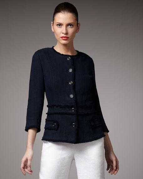 Princess-Seam Fringe Jacket