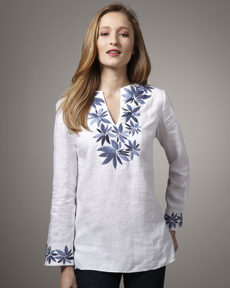 Neiman Marcus Linen Floral-Embroidered Tunic