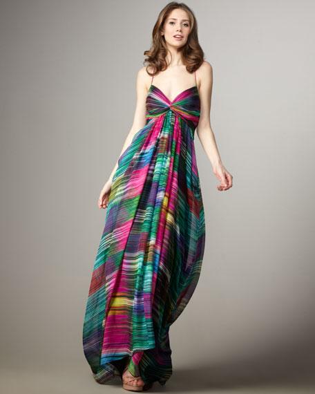 Twist-Front Printed Maxi Dress