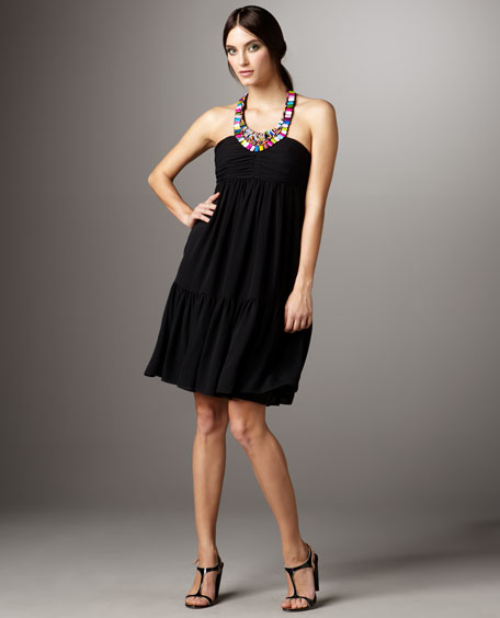 Beaded-Halter Flounce Dress