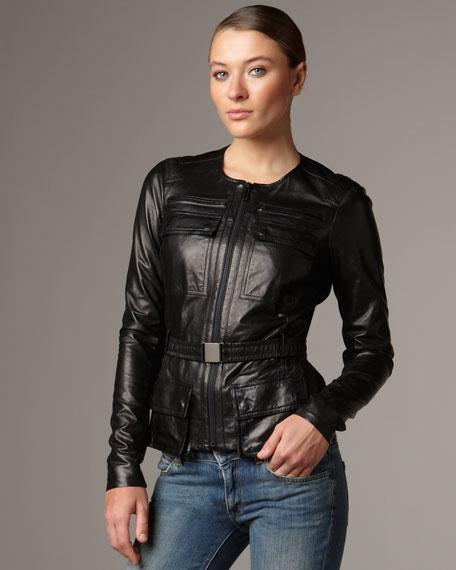 Belted Leather Utility Jacket