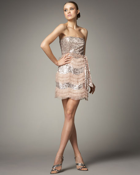 Tulle-Ruffle Sequined Dress