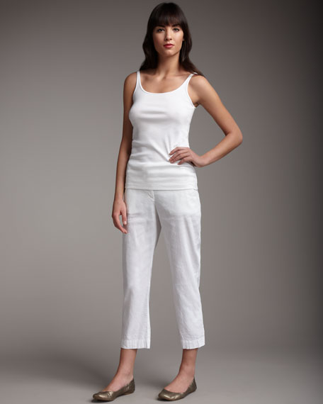 Eileen Fisher Cropped Stretch-Twill Pants