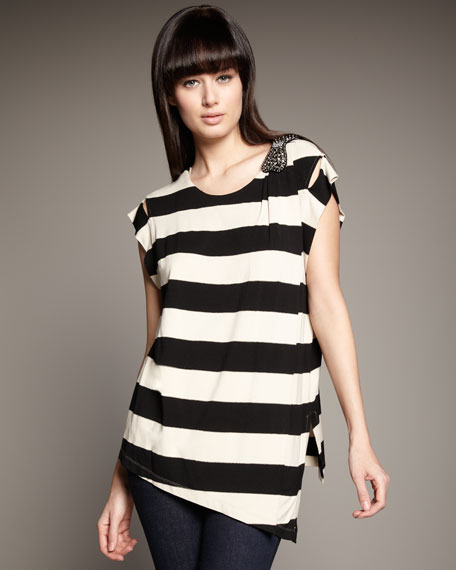 Beaded-Bow Striped Top