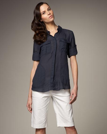 Tailored Bermuda Shorts, White