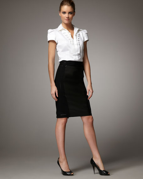 Jersey and Leather Pencil Skirt