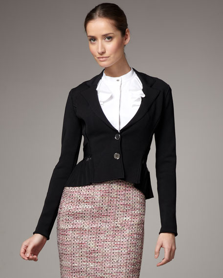 Smock-Knit Pleated Jacket