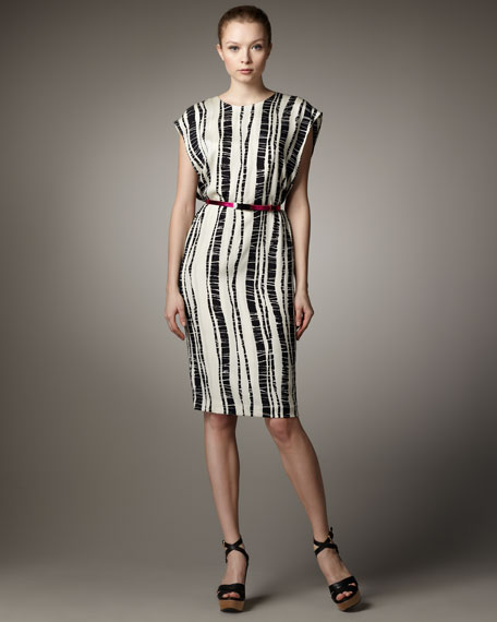 Bamboo-Print Column Dress