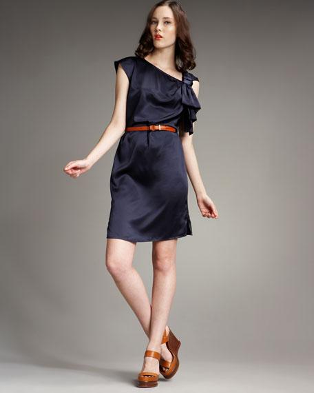 Charmeuse Bow-Shoulder Dress, Ink Blue