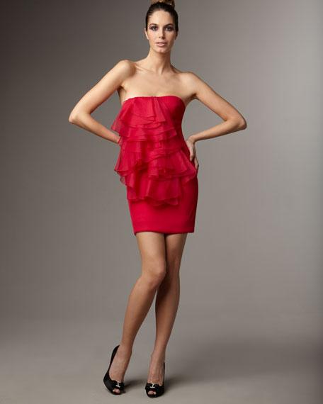 Strapless Organza Ruffle Dress