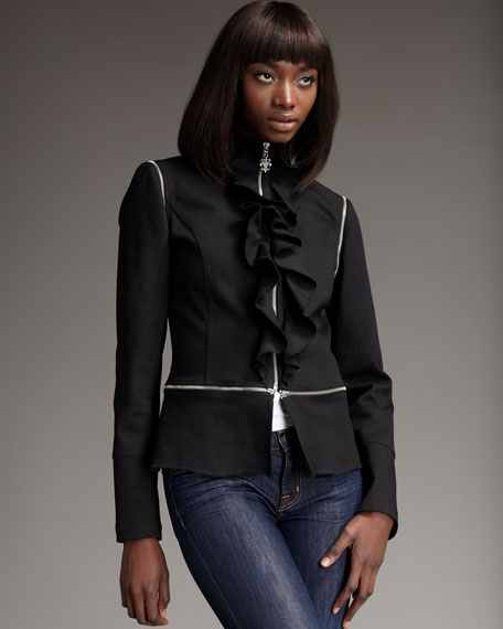 Convertible Ruffle-Front Jacket