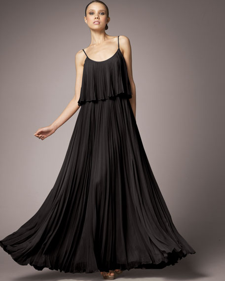 Pleated Silk Dress, Black