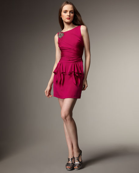 Bead-Detail Peplum Dress