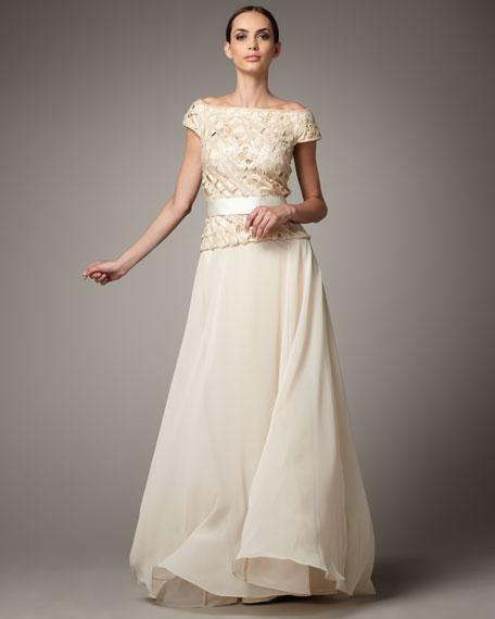 Latticework Sequin-Top Gown