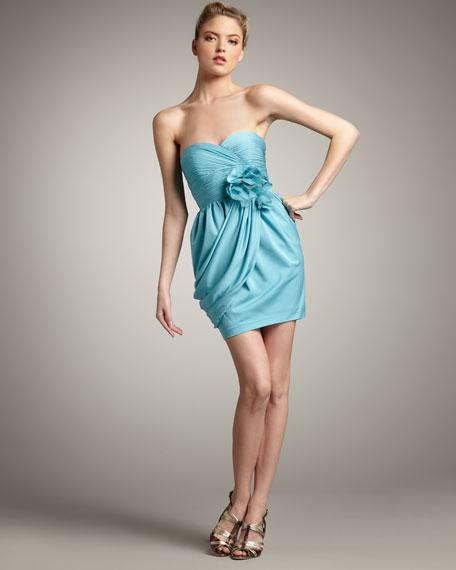 Draped Silk Flower Dress