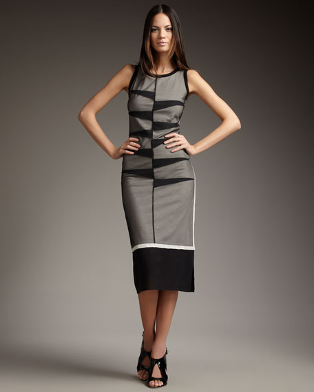 Colorblock Calf-Length Dress