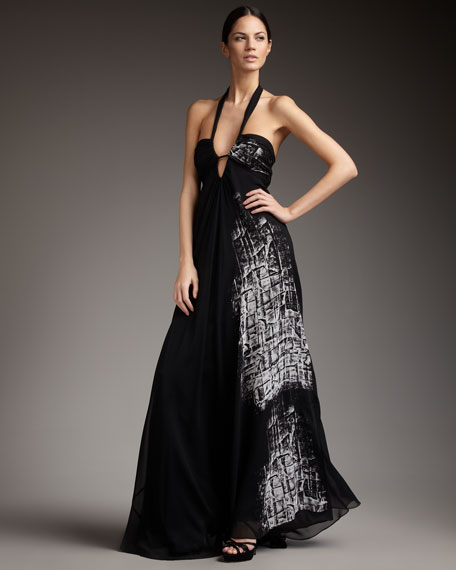 Plunging Halter Gown
